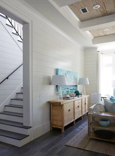 beach house with shiplap walls
