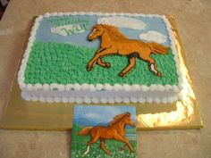 Horse Birthday Cake - frozen buttercream transfer
