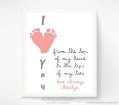 Gift for Grandparents  I Love You Baby por PitterPatterPrint