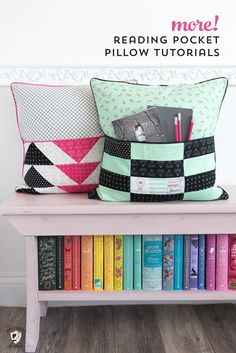 The original reading pillow sewing tutorial. Learn how to make a DIY Reading Pillow a free sewing pattern for a reading pillow or pocket pillow pattern. How to make a pillow with a pocket a gift. Easy Sewing Projects, Sewing Hacks, Sewing Tutorials, Sewing Tips, Sewing Ideas, Sewing Crafts, Diy Projects, Book Pillow, Reading Pillow
