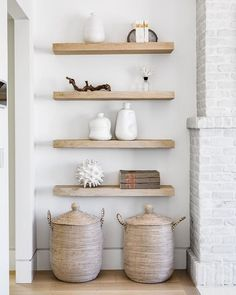That shelf life has no expiration in sight! These light oak shelves adorned with just the right amount of accessories are the perfect detail to flank that white washed fireplace! White Wash Fireplace, Living Room Designs, Living Room Decor, Reclaimed Wood Floating Shelves, Floating Shelves By Fireplace, White Floating Shelves, Oak Shelves, Oak Bookshelves, Corner Shelves