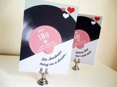 These fun Retro Record Table names coordinate perfectly with our Record Sleeve Invite and Save the Date, with a seating chart also available to Retro Wedding Theme, Retro Wedding Inspiration, Spring Wedding, Dream Wedding, Record Table, Wedding Styles, Wedding Ideas, Wedding Stuff, Table Names