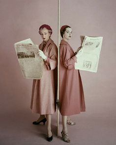 These 1950s dusty rose coats are definitely newsworthy! #vintage #fashion #1950s