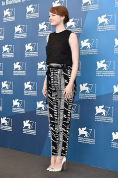 "Always adorable, Emma Stone, flashing a smile at the Venice Film Festival ""Birdman"" photocall in a Graziela Gems wave band #EmmaStone #Birdman #VeniceFilmFestival"
