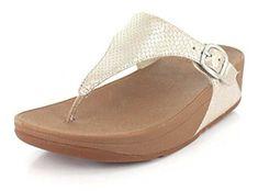 #FitFlop Fitness Schuhe Sandalen - Zehenstegsandale Skinny mit Schlangenmuster und Schnalle, silberweiß. Clogs, Fitflop, Sneaker, Skinny, Sandals, Fashion, Comfortable Sandals, Shoes Sandals, Fitness Shoes