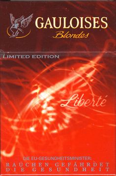 <b>Gauloises - SE Liberte Toujours 2003 AT Limited Edition Legeres 2 - Blondes (German warning)</b><br><br><i>Sold in</i> Austria <br><i>Made in</i> France in 2003 year <br><i>Producer</i>: Altadis<br><i>Trade Mark Owner</i>: Altadis<br><i>Concentration of nicotin/tar/monoxide</i>: 0,6/7/<br><i>Size height/width/depth (mm)</i>: 87/57/22<br><i>Open type</i>: Flip-Open<br><i>Condition</i>: Full<br><b>DOUBLES AVALIABLE</b>: NO
