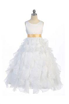White/Gold+Sleeveless+Beautifully+Layered+and+Ruffled+Organza+Flower+Girls+Dress+MB-888-WG+on+www.GirlsDressLine.Com