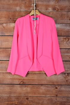 Neon Pink Tuxedo Blazer: $44 + shipping | STATUS: GOT 'EM! Distributor: Solemio  Sizes: S, M, L - I advise sizing up if you have ever had problems with things being too tight in the arms!  Material: 95% POLYESTER, 5% SPANDEX, WOVEN