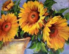 art paintings sunflowers | Hearts Ablaze Sunflowers by Nancy Medina