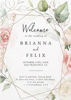 This modern design style of Geometric Gold folded Wedding Program features hand-painted botanical green and gold foliage with pink, blush, white flowers, adorning an elegant geometric frame. This card is part of a set collection of Geometric Gold themed wedding stationery that can be edited and personalized.