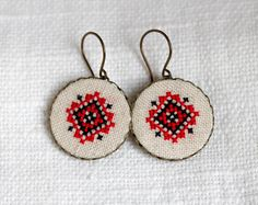 Ethnic style hand embroidered earrings by skrynka