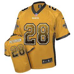 Nike Saints  28 Adrian Peterson Gold Men s Stitched NFL Elite Drift Fashion Jersey  New Orleans e7fbd3798