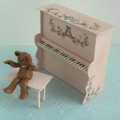 Vtg 1985 Karen Markland 1 24 Half Scale Teddy Bear Piano Dollhouse Miniature   eBay