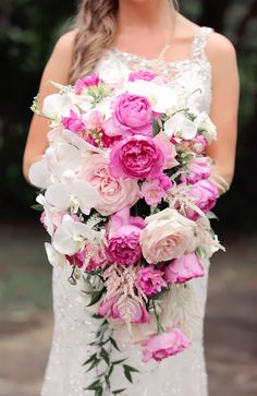 Pink and White Orchid, Rose Cascading Bouquet