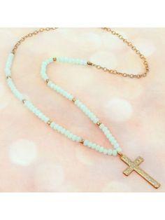 www.ewam.com Goldtone and Aqua Faceted Bead Cross Endless Necklace
