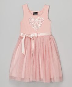 Look what I found on #zulily! Zunie & Pinky Blush Heart Tulle Dress - Girls by Zunie & Pinky #zulilyfinds