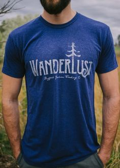 Wanderlust graphic tee by Buffalo Jackson Trading Co. Men's short sleeve t-shirt with that broken in, super soft feel and worn in look.