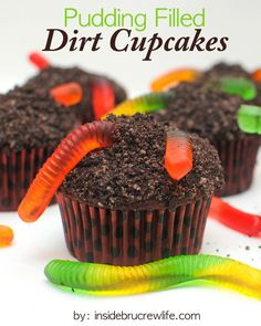 "Coat a cupcake with ""dirt"" and fill it with ""mud."" 
