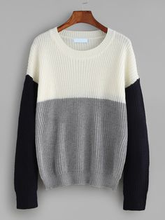 Color Block Drop Shoulder Sweater — 0.00 € ----------------------color: White size: one-size