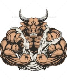 Strong Ferocious Bull by Andrey1005 Vector illustration of a strong bull with big biceps. Vector graphics Install any size without loss of quality. ZIP archive conta