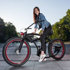 Spike's in the best hands now! Check out his owner: @happystitchesembroideryco model: @szarlej_ GET YOURS AT www.madbicycles.com #custom #bike  #bicycle #badass #sweet #cute #black #adidas #superstar #kicks #jeans #ootd #smile #happy #lovelife #bikelife