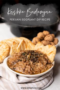 Kashke bademjan is a traditional Persian eggplant dip that is always a favorite amongst my guest. Usually served a little warm or room temperature, this Persian eggplant dip or side dish should always be accompanied by toasted pita or flat bread wedges. If you love Persian food, are vegetarian or want to try something new, I highly recommend this kashke bademjan recipe!