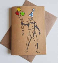 Your place to buy and sell all things handmade Dad Birthday Card, Star Wars Birthday, Star Wars Party, Handmade Birthday Cards, Elmo Birthday, Dinosaur Birthday, Birthday Balloons, Mad Hatter Costumes, Mad Hatter Party