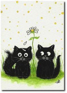 Tiny Black Cat Kittens Valentine Daisy Loves Me -ArT BiHrLe LE Print ACEO