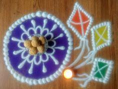 Makar sankranti special rangoli Designs with colours - YouTube
