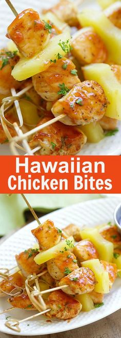 is what 100 Calories of Healthy Food looks like Hawaiian Chicken Bites – amazing chicken skewers with pineapple with Hawaiian BBQ sauce. This recipe is so easy and a crowd pleaser Hawaiian Chicken Kabobs, Hawaiian Bbq, Chicken Skewers, Grilling Recipes, Cooking Recipes, Healthy Recipes, Healthy Food, Vegetarian Grilling, Healthy Grilling