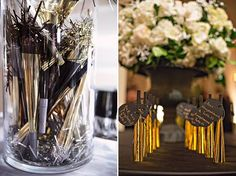 new year's eve wedding ideas, love the top hats and blowers as name cards!