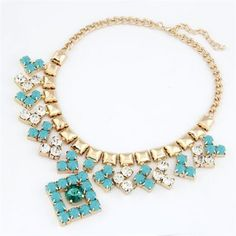 Arrowhead and Square Design Rhinestone Inlaid Necklace - Blue