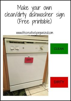 Are the dishes in the dishwasher are clean or dirty? Use this free clean dishwasher printable as a quick way to see! It sure solved the problem at my house! Diy Dishwasher Cleaner, Dishwasher Magnet, Dishwasher Detergent, Clean Dishwasher, How To Clean Rust, Laundry Signs, Diy Cleaning Products, Decorating Blogs, Helpful Hints