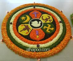 Onam Festival lasts for ten days and brings out the best of Kerala culture.View these 50 Best Pookalam Indian Floral Design and get your creative side going. Rangoli Designs Flower, Colorful Rangoli Designs, Rangoli Ideas, Rangoli Designs Diwali, Rangoli Designs Images, Flower Rangoli, Mehndi Designs, Flower Designs, Beautiful Mehndi Design
