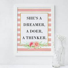 Pink Stripe wall art print Motivational Quote Print Floral