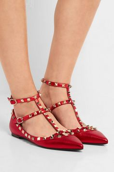 Heel measures approximately 5mm/ 0.5 inches Red metallic leather Buckle-fastening ankle straps Made in Italy