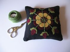 Red Flower Motif Pincushion Wool Applique JKB by fisheyeprims, $18.50