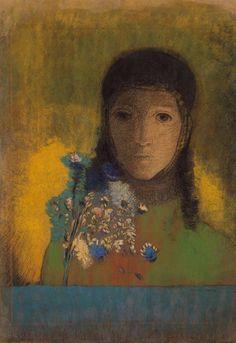 woman with wildflowers- odilon redon