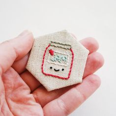 free jam embroidery pattern for stitching on hexagons // wild olive