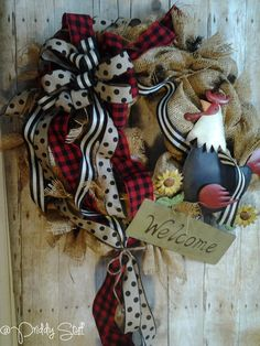 Country Chicken Wreath by PriddyStuff on Etsy
