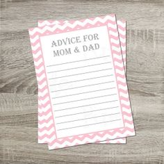 Advice for Mom & Dad Card INSTANT DOWNLOAD DIY Chevron Pink and White    http://www.etsy.com/shop/PurpleConfettiPapers