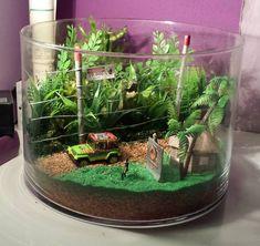 How cool is this Jurassic Park terrarium? A great summer project for the kids! Garden Terrarium, Succulents Garden, Water Terrarium, Terrarium Ideas, Ikebana, Ideas Florero, Indoor Garden, Indoor Plants, Jurrassic Park