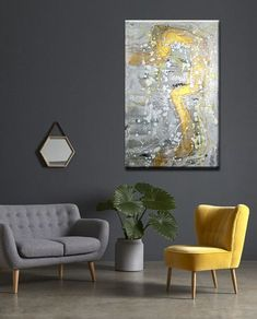 Modern art on canvas Original painting Gray White Gold Silver Original abstract art Contemporary painting Abstract painting Large painting Living Room Color Schemes, Living Room Designs, Living Room Decor, Modern Minimalist Living Room, Modern Living, Dark Living Rooms, Chaise Bar, My New Room, Room Colors