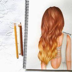 ombré hair, girl drawing