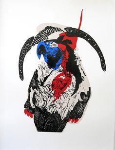 Expositie Spiegelbeeld | 9 januari t/m 13 februari 2016 | Kunstwerken van diverse jonge talentvolle grafici | Kristi Neider - The parrot warrior | Linosnede en houtdruk €255,00| www.baxkunst.nl | #baxkunst #expo #art #graphicart #contemporaryart #dutchartist #localart #gallery #Sneek #Holland