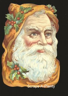 German Embossed Scrap Die Cut -Large Christmas Santa   BK5095