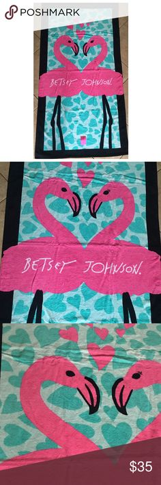 """Betsey Johnson beach bath towel flamingo pink blue 35"""" x66"""" pink and blue love heart flamingo pattern with black boarder. NWT Betsey Johnson Accessories"""