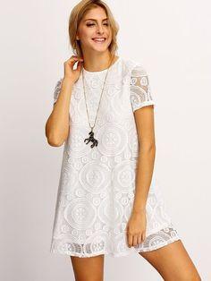 ROMWE Women's Short Sleeve Summer Lace Dress White S at Amazon Women's Clothing store: