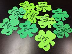 """Fun resident retention idea for St. Patrick's Day. You can purchase these foam clover shapes at the Dollar Tree. Use a sharpie to write on them. The game was for residents to find the """"lucky"""" clover. We placed the clovers all over the property. The lucky one had a message to take it back to the office for a prize! Easy, different and fun!"""