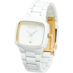 Nixon Small Player Watch ($187) ❤ liked on Polyvore featuring jewelry, watches, stainless steel jewelry, two tone jewelry, stainless steel watches, nixon watches and nixon jewelry